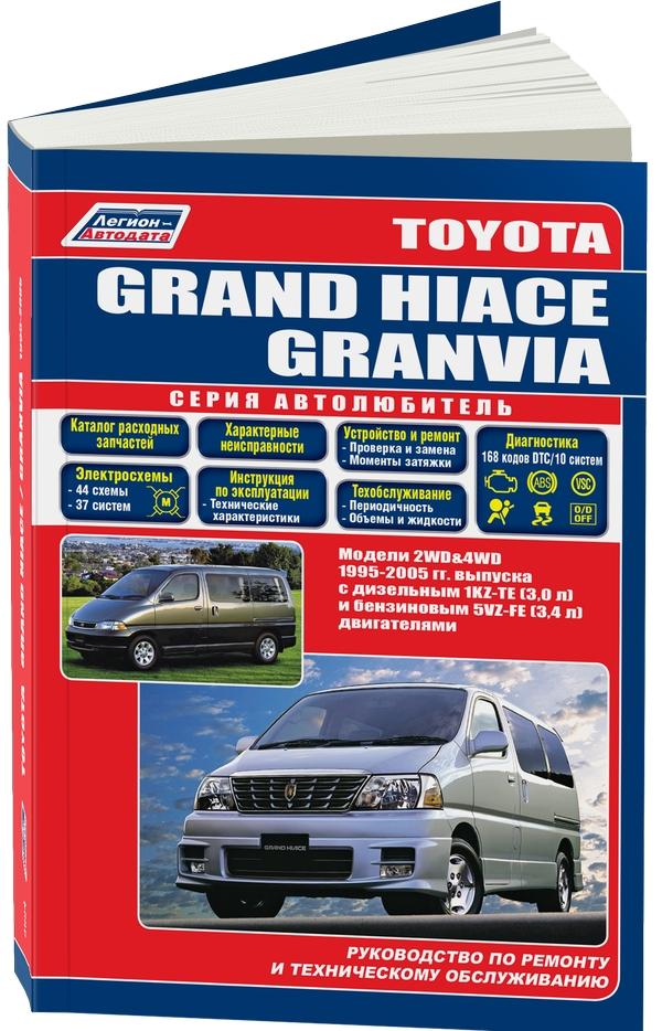 Руководство Toyota Grand Hiace описывается проведение технического обслуживания, а также процедур по эксплуатации Toyota GRAND HIACE, оснащенную бензиновым или дизельным мотором соответственно 5VZ-FE (3.4л.) и 1KZ-TE (3.0л.), производимых 1995-2005 годах. Руководство предоставляет подробные сведения как качественно проводить диагностику, ремонт, регулировку узлов автомобиля и всех его систем: топливные дизельные и бензиновые системы, системы управления двигателями, снижения токсичности выхлопных смесей, турбонаддува дизеля, зажигания, запуска, зарядки, переднего и заднего редукторов, подвески, кузовных элементов, TRC – противобуксировочная система, автоматической коробки передач, ABS –антиблокировочная, VSC – курсовой устойчивости, кондиционирования и вентиляции. В руководстве описаны 168 кодов возможных аварийных сбоев B0, B1, Flash, P0, P1 и т.д., их возможные причины, условия появления. Представлены инструкции управления бензиновым, дизельным двигателем, управления дистанционным замком, АКПП, ABS, VSC, система электропривода стеклоподъемников, кондиционера,SRS (всего диагностика10 систем). Для всех вариантов комплектации автомобиля в инструкции представлены 44 электросхемы, описание многих элементов электрооборудования.